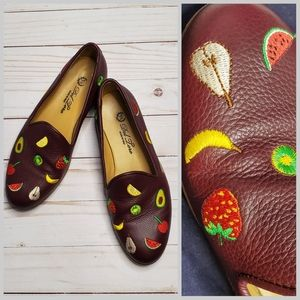 DEL TORO fruit embroidered leather loafer shoes